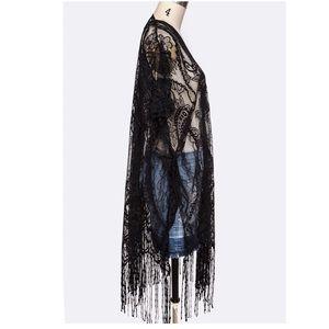 Sweaters - Just In! Fringe Lace Kimono Cardigan